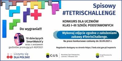 """Urząd Statystyczny w Łodzi informuje o ogłoszeniu konkursu dla uczniów klas I-III szkół podstawowych """"Spisowy #TetrisChallenge"""""""