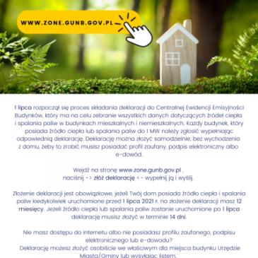 Złóż deklarację dotyczącą źródła ciepła i źródeł spalania paliw elektronicznie na stronie: zone.gunb.gov.pl lub w Urzędzie Gminy Łanięta!