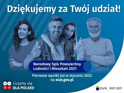 W DNIU 30 WRZEŚNIA 2021 R. ZAKOŃCZYŁ SIĘ NARODOWY SPIS POWSZECHNY LUDNOŚCI I MIESZKAŃ 2021!