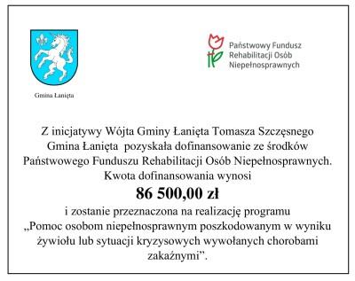 Dofinansowanie z Państwowego Funduszu Rehabilitacji Osób Niepełnosprawnych dla Gminy Łanięta